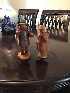 A pair of vintage German wooden smokers