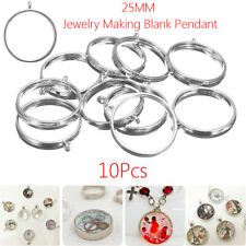 10Pcs 25mm Open Back Bezel Setting Silver Resin Jewelry Making Blank Pendant
