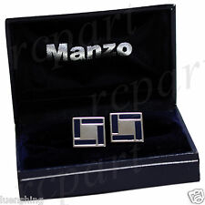 New Men's Cuff links Formal casual Party Prom Wedding Resin Blue silver #26
