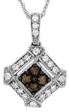 Genuine Diamond Pendant Necklace Solid 14K White Gold