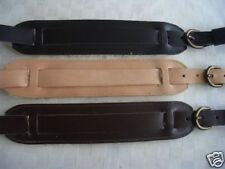 RETRO STYLE PADDED SHEEPSKIN SHOULDER REAL LEATHER GUITAR STRAP - BLACK OR BROWN