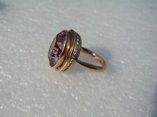 RUSSIAN 14KT (583) Rose Gold Lab. Created Pink Tourmaline Ring  6,6 gr