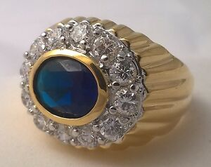 G-Filled 18ct yellow gold simulated diamond Men's dark blue sapphire ring Gent's