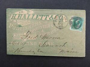 Maine: Portland ca. 1880 Hallett Publishers Printers Green Advertising Cover