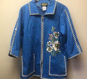 New Bob Mackie Wearable Art Womens L Teal Blue Embroidered Stripe Trim Jacket