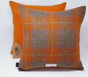 Check Wool Tweed BROWN Orange grey HARRIS TWEED genuine handmade Cushion Cover
