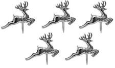 5 x mini SILVER Reindeer Christmas Cake Decorations yule log cupcake toppers (S)