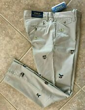 Polo Ralph Lauren Chino Pants 34 x 34 Embroidered Stretch Slim Khaki NWT $125
