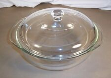 Pyrex Vintage Clear Glass 2 Liter Round Casserole Dish w/ Lid 024 / D-16