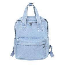 Women Solid Denim Backpack Travel Canvas Handbags Large Capacity Shoulder Bags