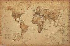 GIANT WORLD MAP OF THE WORLD ANTIQUE STYLE CONTEMPORARY 39 x 55in POSTER  WALL