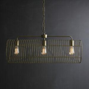 Radio City 3 Light Pendant Light in Brass metal