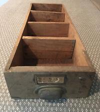 Vintage Industrial Wood Hardware Parts Drawer Bin Storage with Metal Pull 26x9x4