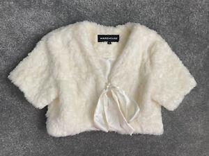 Womens Faux Fur Cream Bolero From Warehouse - UK Size 12.