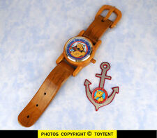 BIG INCH Popeye desk/wall CLOCK wood wristwatch design + Eugene the Jeep anchor