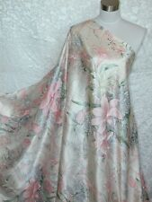 100% Silk Charmeuse Fabric Pink Garden Flower Per Yard