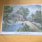 """Currier and Ives """" The Roadside Mill"""" Lithograph print"""