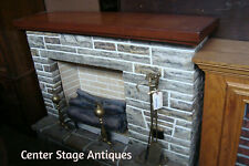 57360 Wood Top Fireplace Mantel Mantle w/ Faux Logs Brass Screen and Tools
