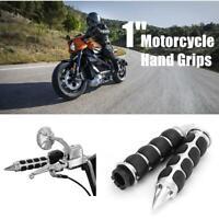 """Black Chrome 1/"""" Hand Grip For Suzuki GSXR 600 750 1000 1100 Hayabusa GSX1300R"""