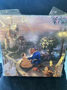 Thomas Kinkade Disney's Beauty and the Beast Falling In Love 14 x 14 Canvas Wrap