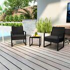 Garden Rattan Furniture Bistro 3pc Chair Table Set Patio Outdoor Wicker Black