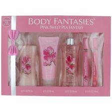 Pink Sweet Pea Fantasy Perfume by Body Fantasies, 5 Piece Set women NEW