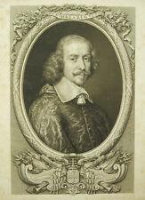 Jules Mazarin Mazarino Gravure originale XIXe SIGNEE D Joseph DESVACHEZ Sandoz
