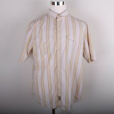 Sean John Casual Short Sleeve Dress Shirt Men's XXL Yellow Gray White Striped