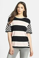 Marc Jacobs Black White Pink Striped Lydia Silk Cotton Sweater Top NWT XS