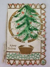 "Antique German Die Cut Merry Christmas Card 5-7/8"" x 3-5/8"" Tree Cheer Wishes"