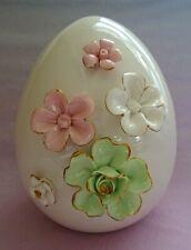 "Spring Ceramic Floral 7"" Egg Pink Green & White Gold Rimmed Flowers"