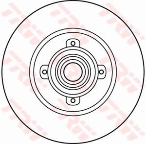 TRW Brake Rotor Rear DF6042BS fits Peugeot 308 SW 1.6 16V (110kw), 1.6 16V (1...