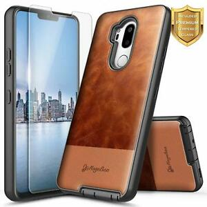 For LG G7 ThinQ / G7 Fit Case Shockproof Leather Phone Cover + Tempered Glass