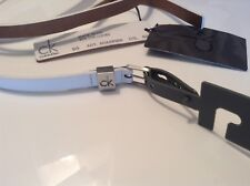 BNWT 100% Auth Calvin Klein Ladies White Slim Cow Leather belt. 95