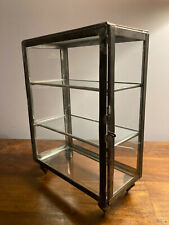 Antique Laboratory Chemistry Apothecary Glass and Metal Countertop Display Case