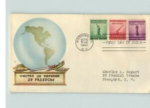 """1940 NATIONAL DEFENSE, 3 diff. color stamps, 1, 2, 3 cent. """"United in Defense of"""