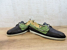 Sebago Docksides Men's Brown and Green Boat Deck shoes UK 6.5  US  7.5  EU 40.5