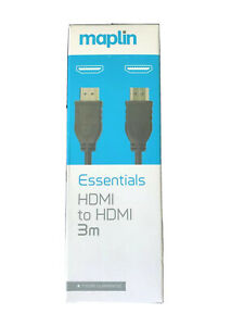 MAPLIN ESSENTIALS HDMI TO HDMI 3M CABLE VERY GOOD QUALITY CABLE BRAND NEW