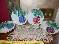 Christmas Holiday Crate & Barrel Snack Salad Dessert Ornament Plates New in Box