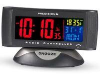 Precision Alarm Clock Radio Controlled Digital Mains Battery Colour Display