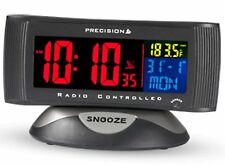 Precision Alarm Clock Radio Controlled Digital Mains Battery Colour Display