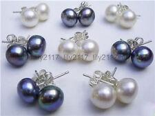 wholesale 8 PAir 7-8MM White&Black Akoya Cultured Pearl Earring AAA