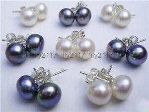 Wholesale 8 Pairs 7-8MM White&Black Akoya Cultured Pearl Silver Stud Earrings AA