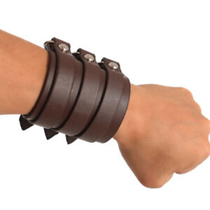 Men SCA Medieval Cosplay Armor Genuine Leather Bracer Buckle Costume Wristband