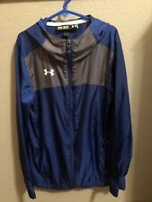 Under Armour Youth Windbreaker Medium Blue Zip-up Hooded