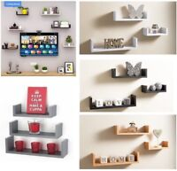 Set of 3 U Shape Floating Shelves Wall Mounted Storage Room Display Shelf Unit