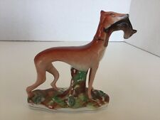 Antique Staffordshire Porcelain Whippet Dog With Hare/Rabbit In Mouth, England