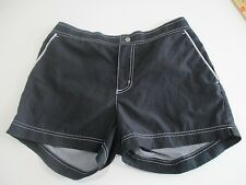 Faded Glory Quick Dry Board Shorts Women  sz M 8-10 Black Surfer Zip Snap Fly Cl
