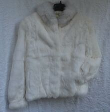 Womens WILSONS  VINTAGE WHITE  RABBIT FUR / Fox FUR COLLARJacket Coat M MINT