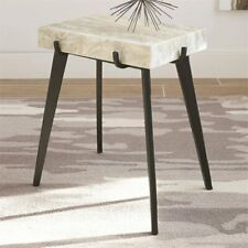 Coaster Marble Top Accent Table in White and Black